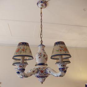 kroonluchter-porselein-handbeschilderd-lampenkap-provence-frankrijk-vintage
