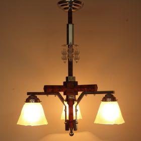 hanglamp-chroom-houtschildering-vintage-1950
