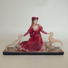 beeld-vrouw-vogels-gips-jean-carli-1950-vintage-antiek