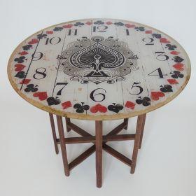 table-wood-spool-weaving-loom-card-game-clock-antique