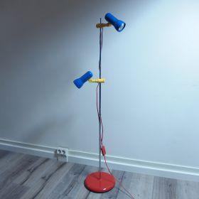 vloer-lamp-spots-metaal-memphis-rood-geel-blauw-jaren-80-vintage