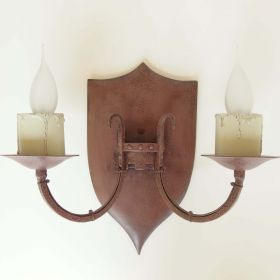 set-wall-lamp-wrought-iron-wood-shield-castle-50s
